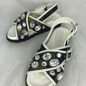 TOPSHOP Chunky Sandals Jeweled Crossover Slingback